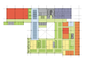 Preliminary floorplan design for the new College of Law.