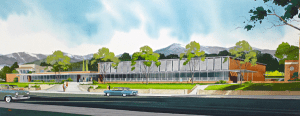 A rendering of the proposed new College of Law building, circa 1962