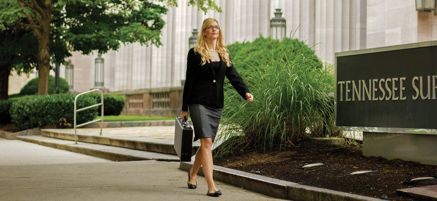 Student walking at Tennessee Supreme Court.