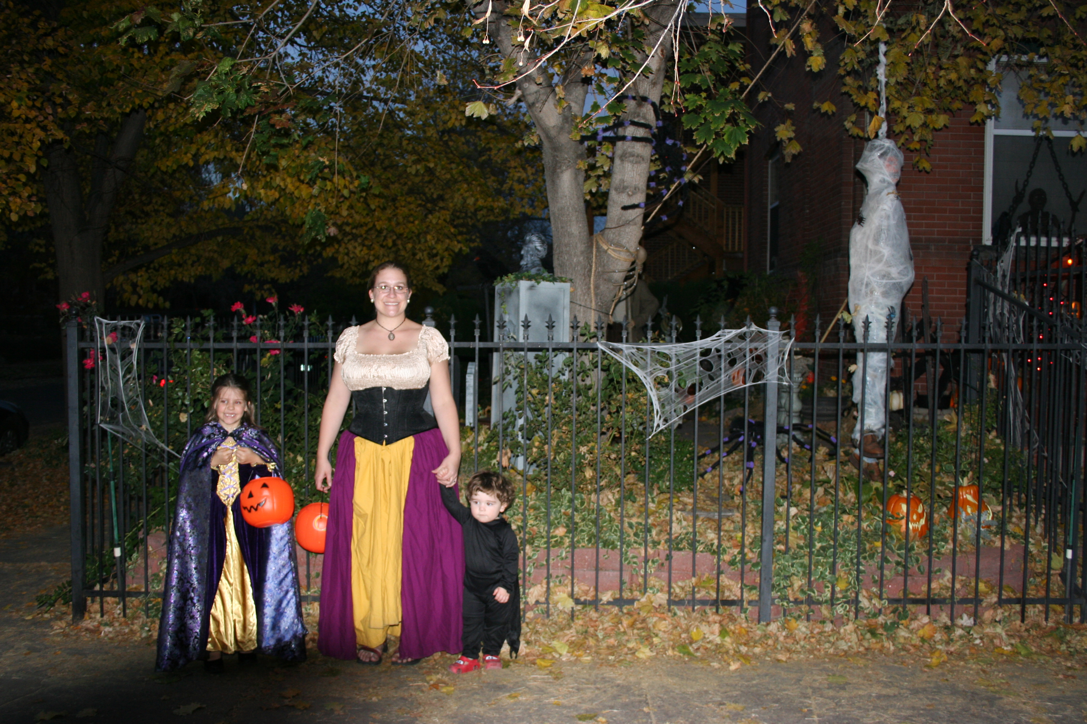 Outside the haunted house.