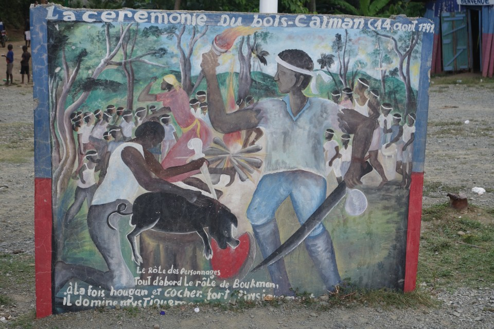 Painting at Bois Caïman marking what is believed to be the spot of the August 1791 ceremony.  © Malick W. Ghachem, 2016.