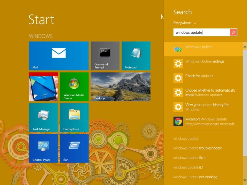 Start, Windows Update