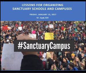 For a #SanctuaryCampus project, Law @ the Margins assembled national education and immigrant rights experts online to train local activists and organizers who wanted to start a sanctuary campaign in their own schools and universities