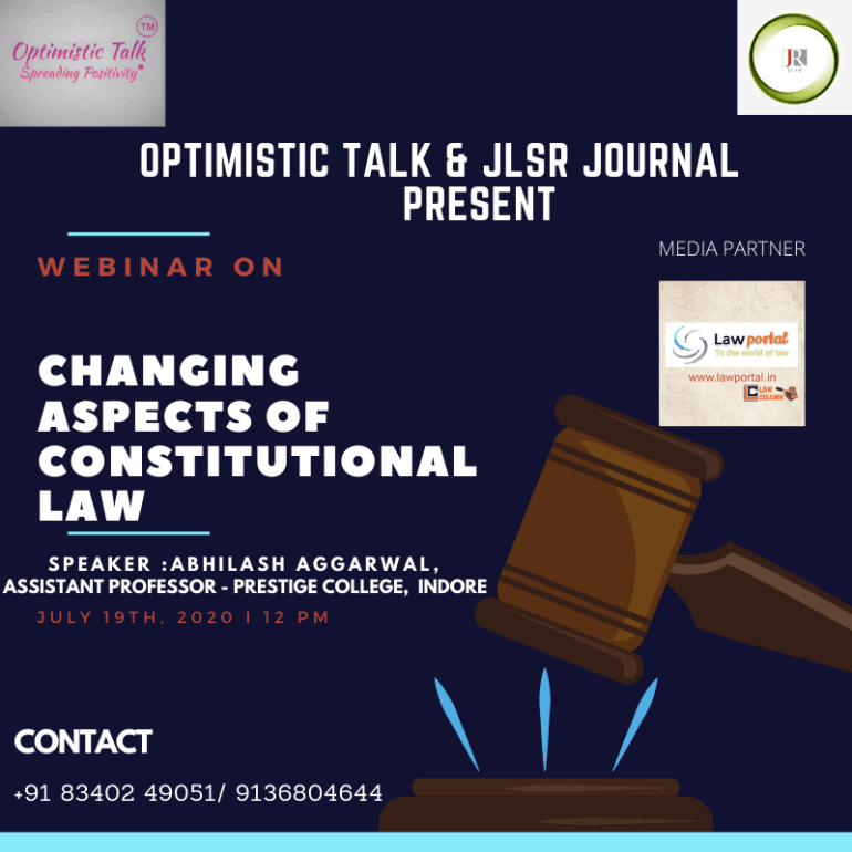 Blue and Red Gavel Law Day Social Media Graphic 10 Webinar on changing aspects of constitutional law by Optimistic Talk & JLSR Jouranl.