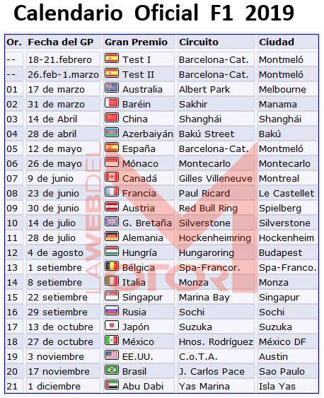 Calendario Formula 1 2020 Horarios.Calendarios La Web Del Motor 2019 La Web Del Motor