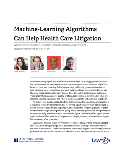 Machine-Learning Algorithms Can Help Health Care Litigation