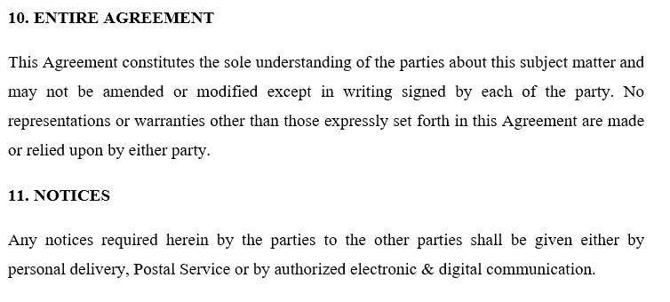 entire agreement - notice - Volunteer Agreement