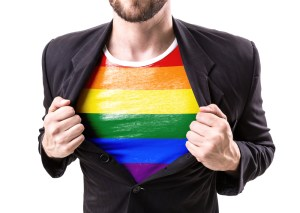 LGBT rainbow shirt under suit jacket
