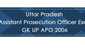 Uttar Pradesh Assistant Prosecution Officer Exam GK UP APO 2006 LawMint.com