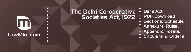 The Delhi Co operative Societies Act 1972 Bare Act PDF Download 2