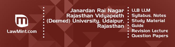 Janardan Rai Nagar Vidyapeeth University LLB LLM Syllabus Revision Notes Study Material Guide Question Papers 1