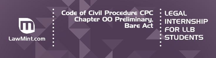 Code of Civil Procedure CPC Chapter 00 Preliminary Bare Act