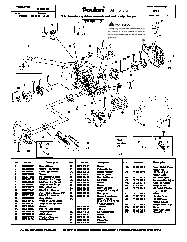 Poulan P3416 Chainsaw Parts List, 2008