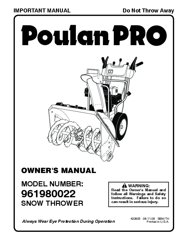Poulan Pro 961980022 420925 Snow Blower Owners Manual, 2008