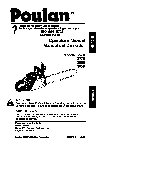 Poulan 2750 2775 2900 3050 Chainsaw Owners Manual, 2000