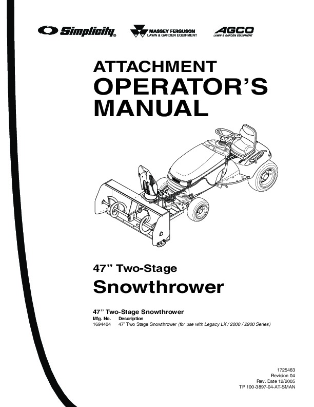 Simplicity 1694404 Legacy LX 2000 2900 Series Snow Blower