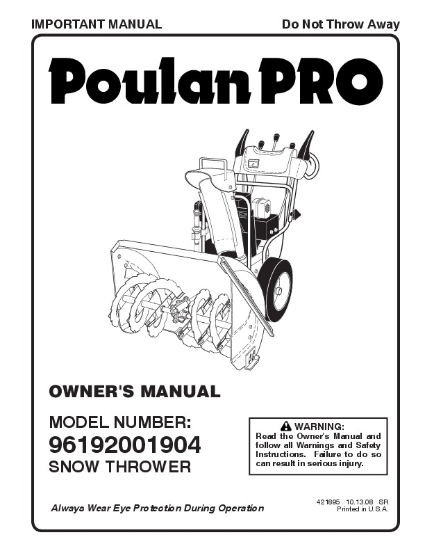 Poulan Pro 96192001904 421898 Snow Blower Owners Manual, 2008