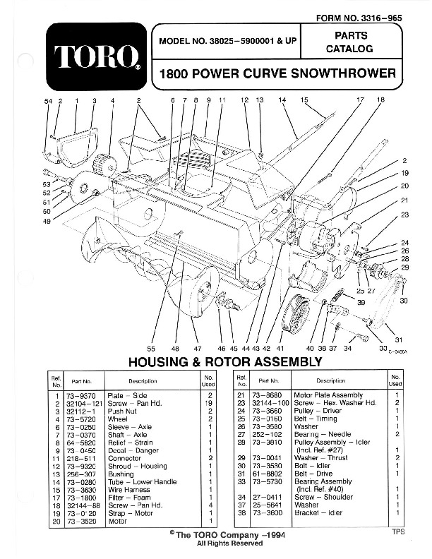 Toro 38025 1800 Power Curve Snowblower Manual, 1995