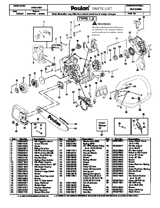 Poulan P4018AVBH Chainsaw Parts List, 2008