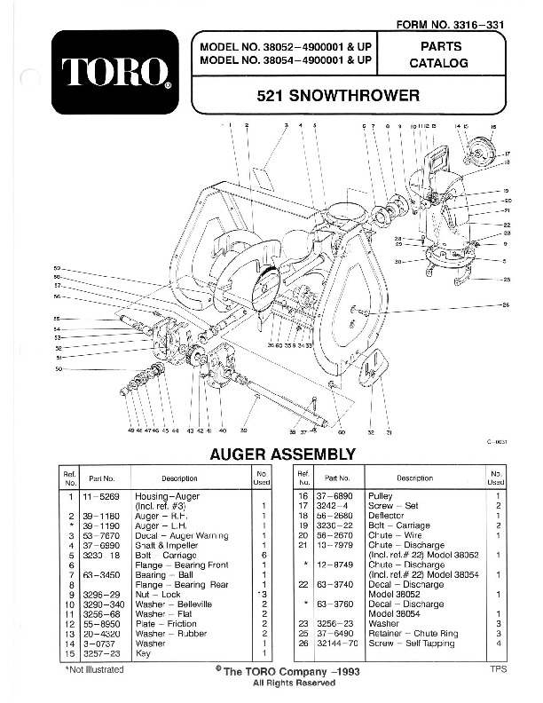Toro 38054 521 Snowblower Manual, 1994