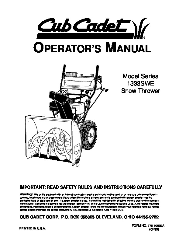 MTD Cub Cadet 1333S WE Snow Blower Owners Manual