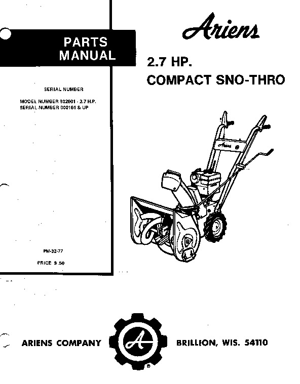 Ariens Sno Thro 932001 000101 Up Snow Blower Parts Manual