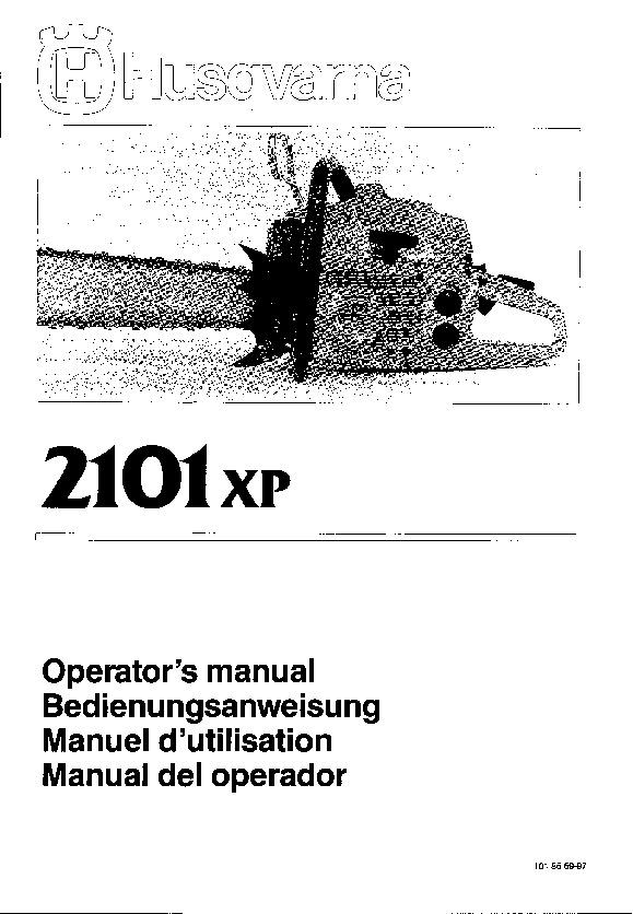 Husqvarna 2101XP Chainsaw Owners Manual, 1997
