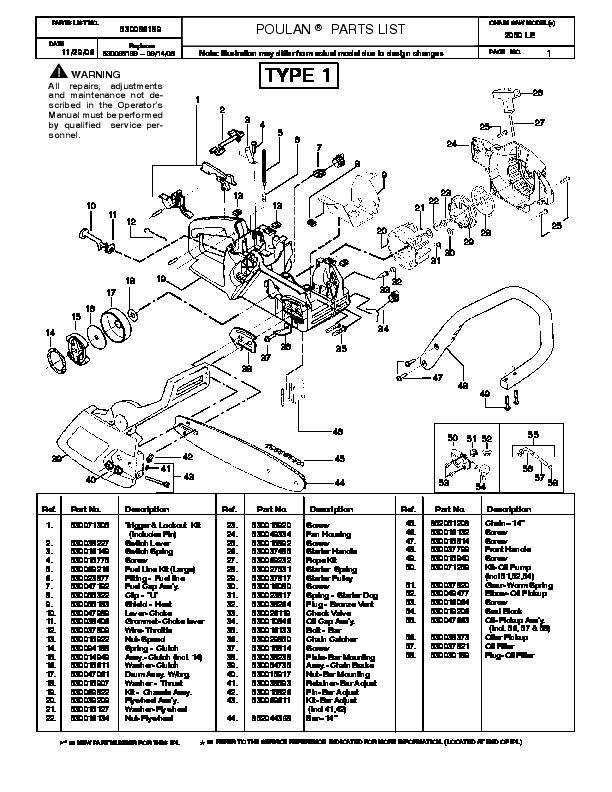 Poulan Pro 2050 LE Chainsaw Parts List, 2006