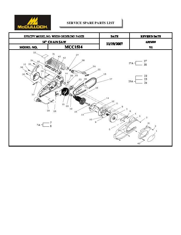 McCulloch IPL MCC1514 14inch Chainsaw Service Parts List