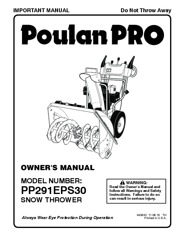 Poulan Pro PP291EPS30 440642 Snow Blower Owners Manual, 2010