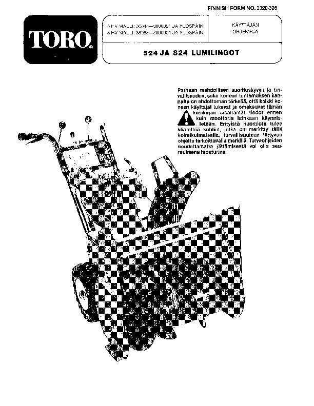 Toro 38045 524 Snowblower Manual, 1982-1986