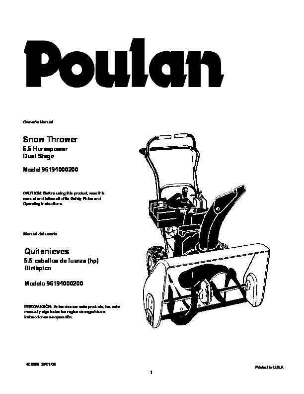 Poulan 96194000200 406885 5.5HP Dual Stage Snow Blower