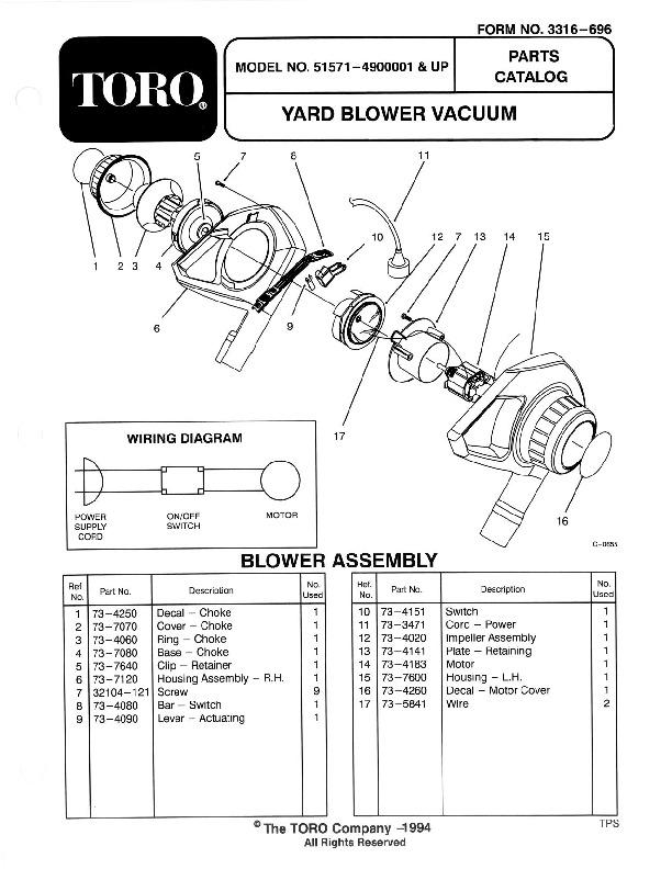 Toro 51571 Yard Blower Vac Manual, 1994
