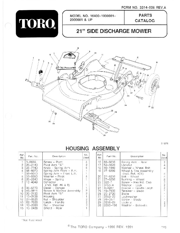 Toro 16400 16401 16402 21-Inch Lawn Mower Owners Manual, 1991
