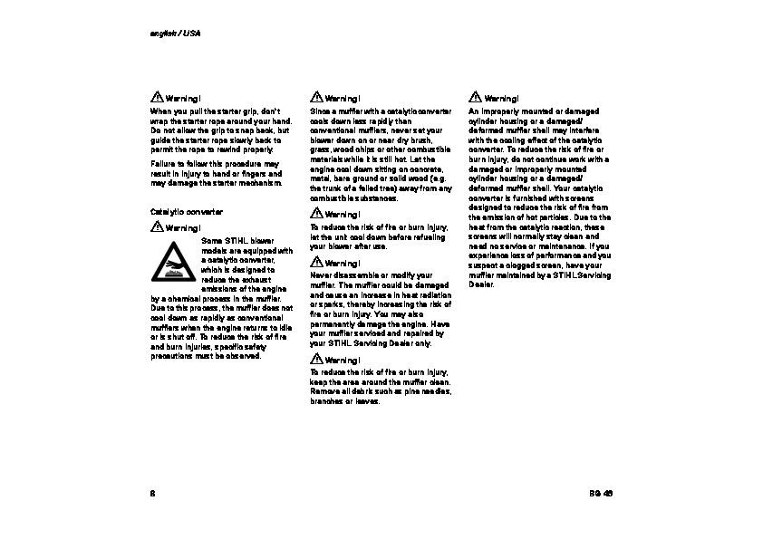 STIHL BG 46 Blower Owners Manual
