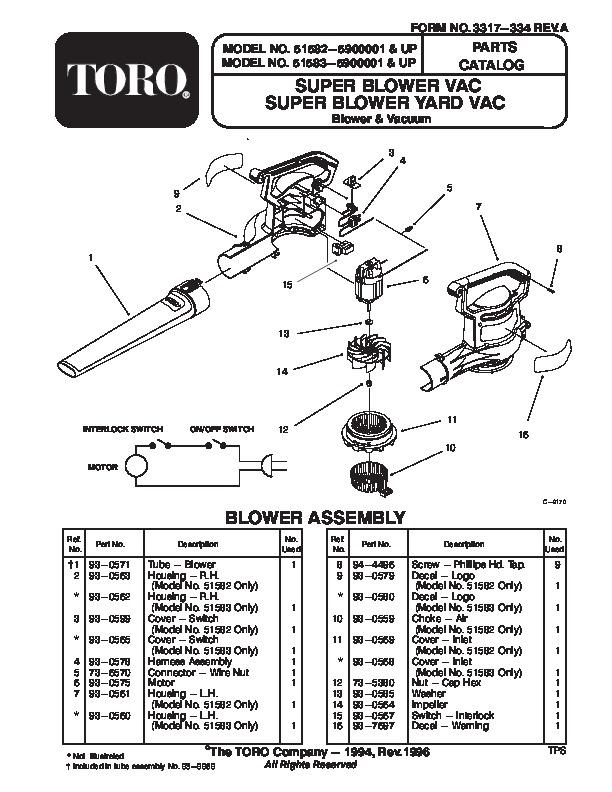 Toro 51582 Super Blower Vac Manual, 1996-1997