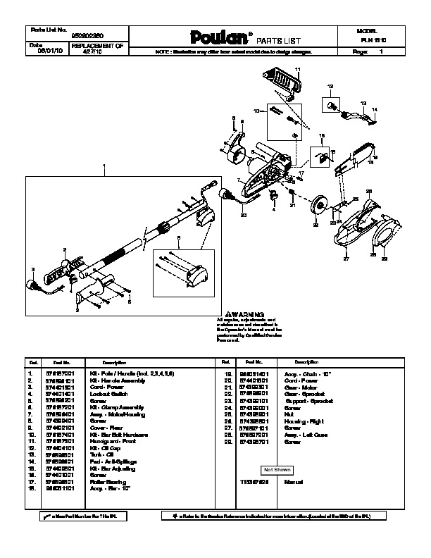 Poulan PLN1510 Chainsaw Parts List Manual, 2010