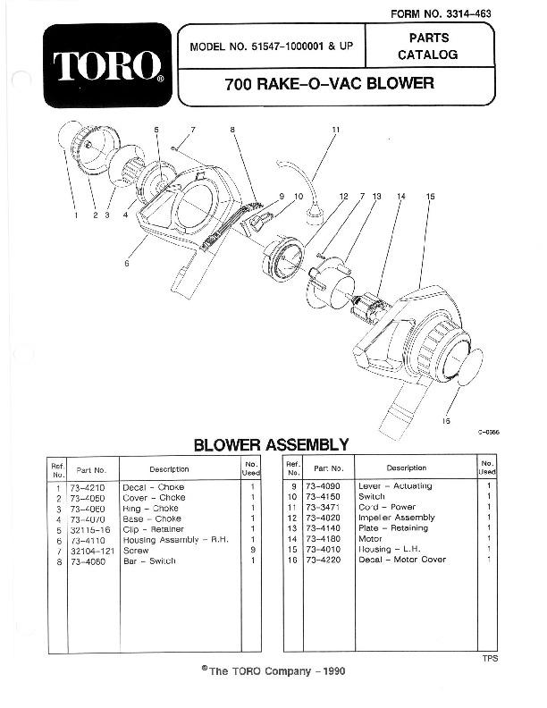 Toro 51547 700 TBX Rake-O-Vac Manual, 1991