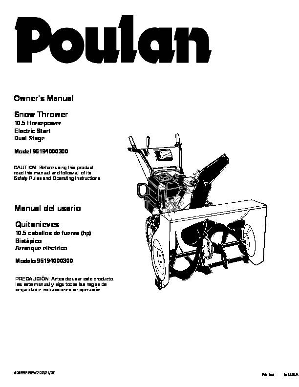 Poulan 96194000300 406888 10.5HP Electric Start Dual Stage