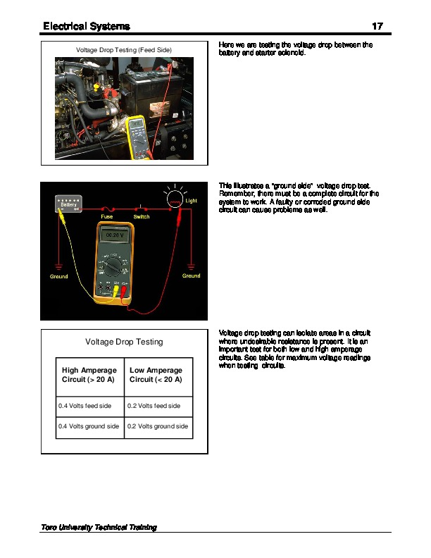 Toro Electrical Systems Principles Circuits Schematics