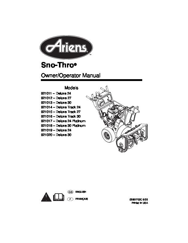 Ariens Sno Thro 921011 12 13 14 15 16 17 18 19 20 Deluxe