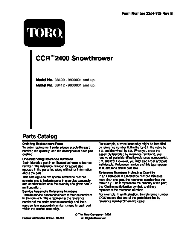 Toro CCR 2400 GTS 38409 38414 Snow Blower Owners and