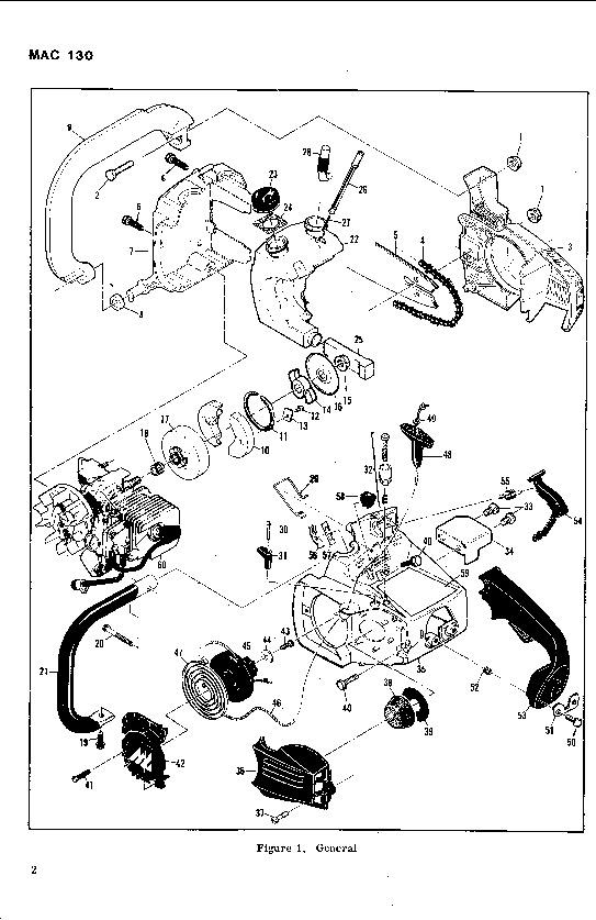 McCulloch Mac 130 Chainsaw Parts List, 1982,1983,1984,1985