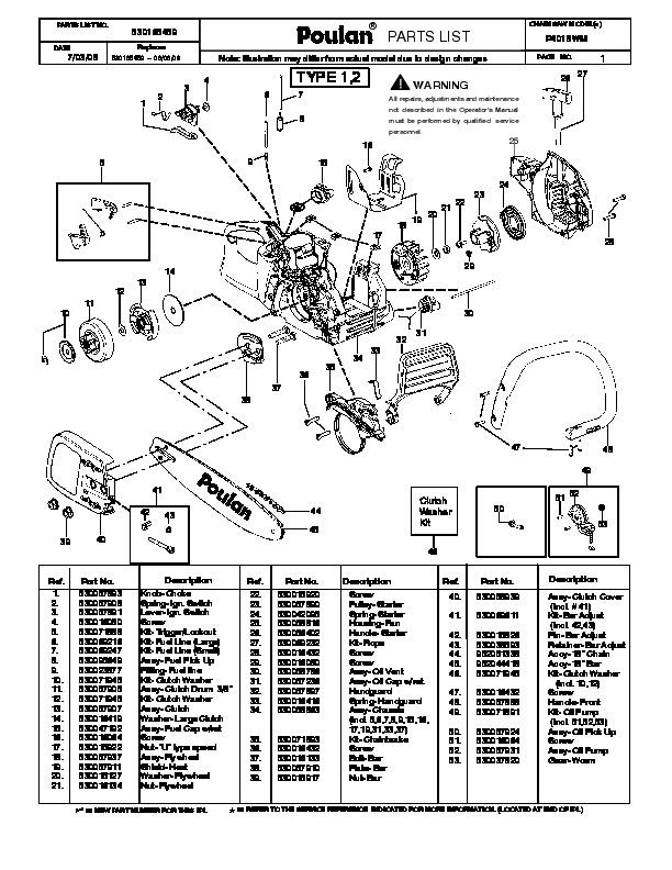 Poulan P4018WM Chainsaw Parts List, 2008