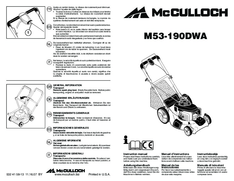 McCulloch M53 190DWA Lawn Mower Owners Manual, 2008