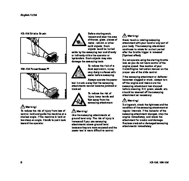 STIHL KB KM,KW KM Kombi System Cultivator Owners Manual