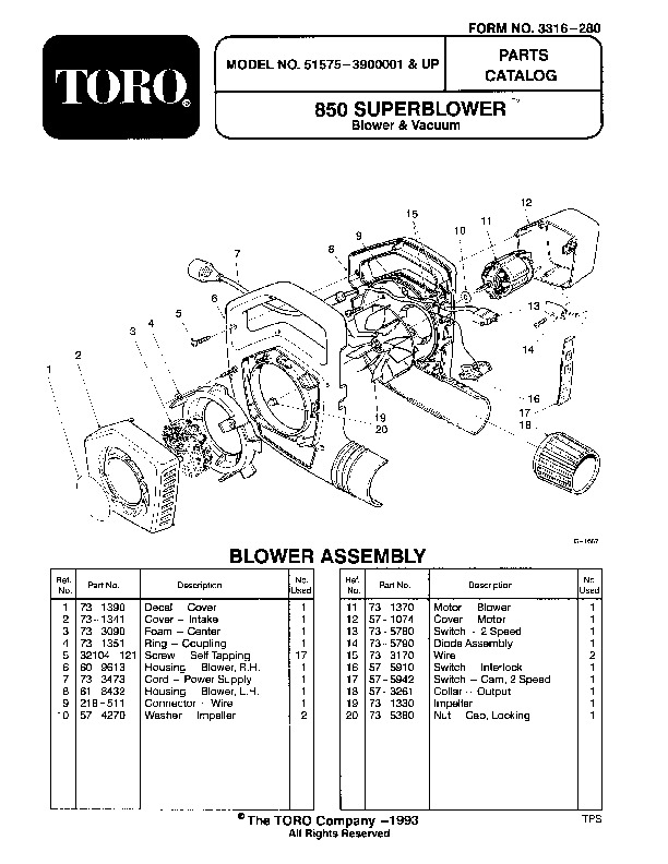 Toro 51575 850 Super Blower Manual, 1993