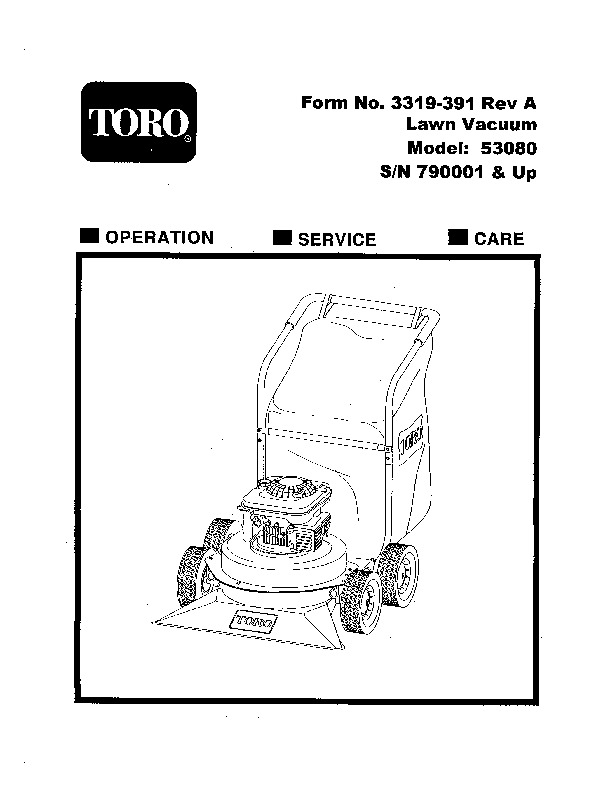 Toro 53080 Lawn Vacuum, 9 cu. ft. Manual, 1997-1998