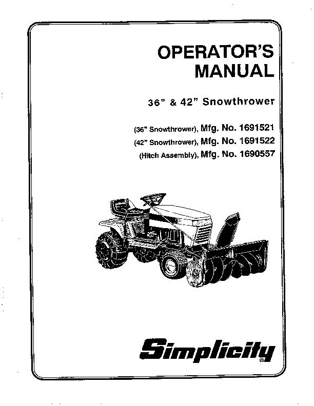 Simplicity 1691521 1691522 1690557 36 42-Inch Snow Blower