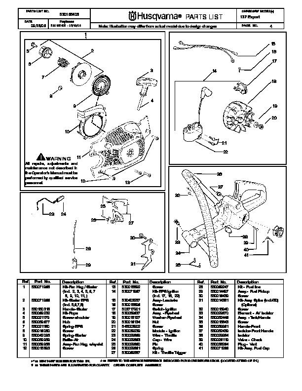 Husqvarna 137 Chainsaw Parts Manual, 2001,2002,2003,2004